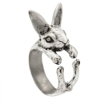 Ajustable QIAMNI Vintage Hippie Chic conejo hecho a mano conejo Animal nudillos anillos para las mujeres dije para chicas regalo de joyería de moda 1