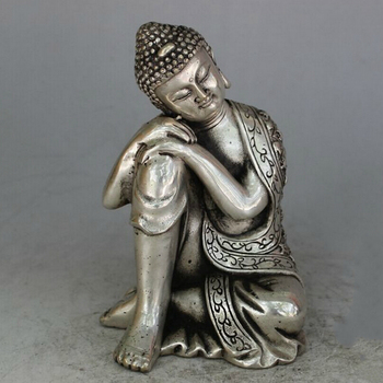 Free Shipping Collectible Decorated Old Tibet Silver Carved sleeping Buddha Statue