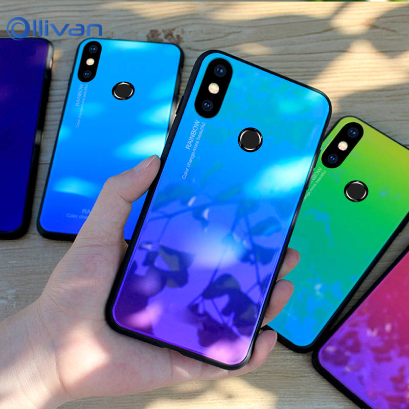 "For Xiaomi Redmi Note 5 Case Rainbow Gradient Tempered Glass Cover for Xiaomi Redmi Note 5 Pro India Note 5 Global 5.99"" Cases"