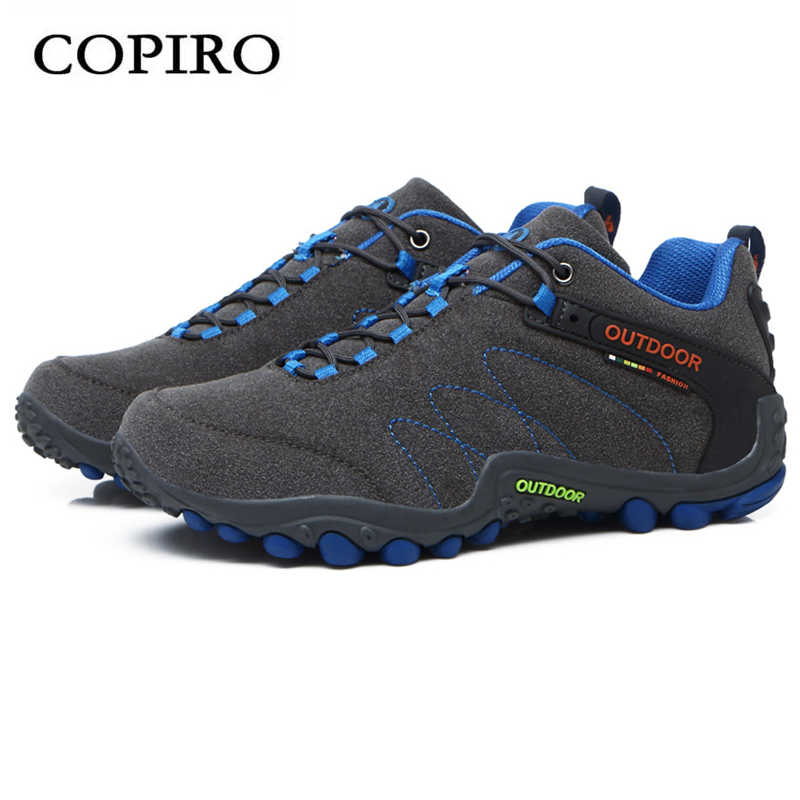COPIRO Spring Outdoor Hiking Shoes Men Lace-Up Walking Sneskers Climbing Breathable Trekking Zapatillas Deportivas sale outdoor sport boots hiking shoes for men brand mens the walking boot climbing botas breathable lace up medium b m