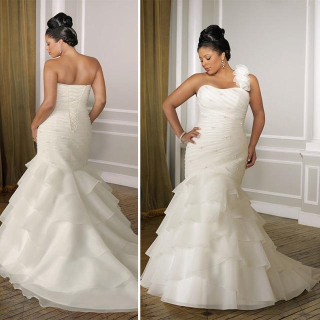 Slim Hip Mermaid Wedding Gowns One Shoulder Tiers Chiffon Plus Size ...