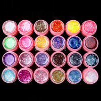 Hot DIY Professional 24 Pcs Mix Color Glitter Hexagon Sheet Nail Art UV Builder Gel For