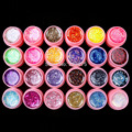 Hot DIY Professional 24 Pcs Mix Color Glitter Hexagon Sheet Nail Art UV Builder Gel for Tips white pot Set