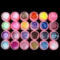 Hot DIY Professionele 24 Stks Mix Kleur Glitter Hexagon Sheet Nail Art UV Builder Gel voor Tips wit pot Set