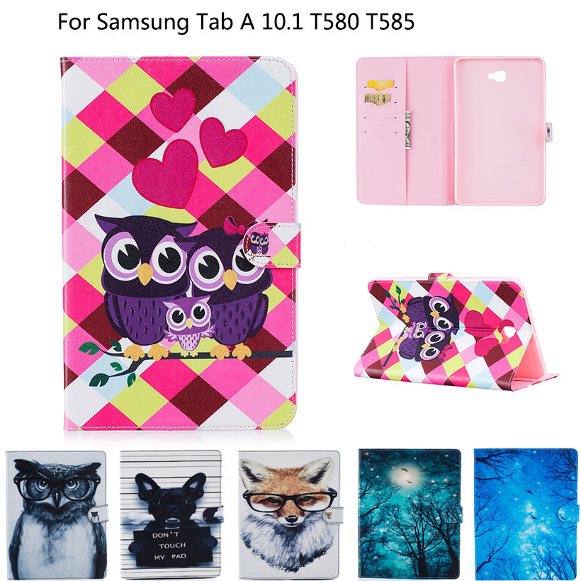 Cover For Samsung Galaxy Tab A A6 10.1 2016 T580 T585 T580N Case Funda Tablet Book Fashion Print TPU+ PU Leather Protector Shell купить недорого в Москве