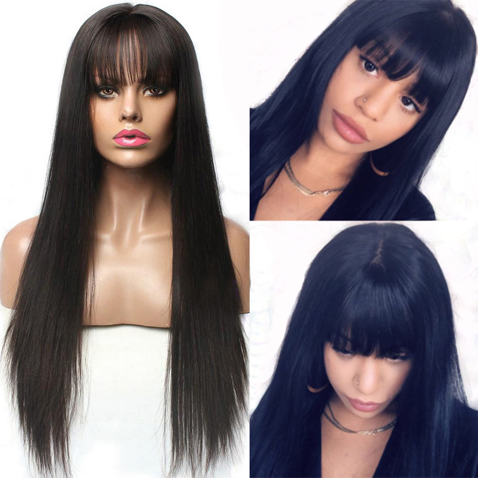 Hesperis 13X6 Lace Front Wigs With Bang Brazilian Remy Lace Front Human Hair Wigs for Black Woman Pre Plucked With baby Hair(China)