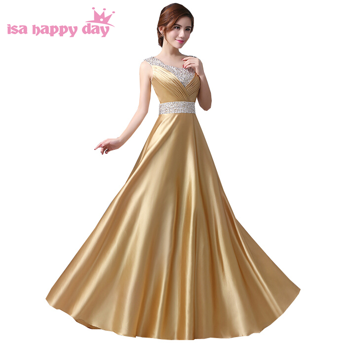 new product 44a4c 3c102 Ultimi disegni delle donne formale elegante scollo a v di lunghezza del  pavimento lunghi abiti da sera in oro e la sposa abito di raso con le  pietre ...