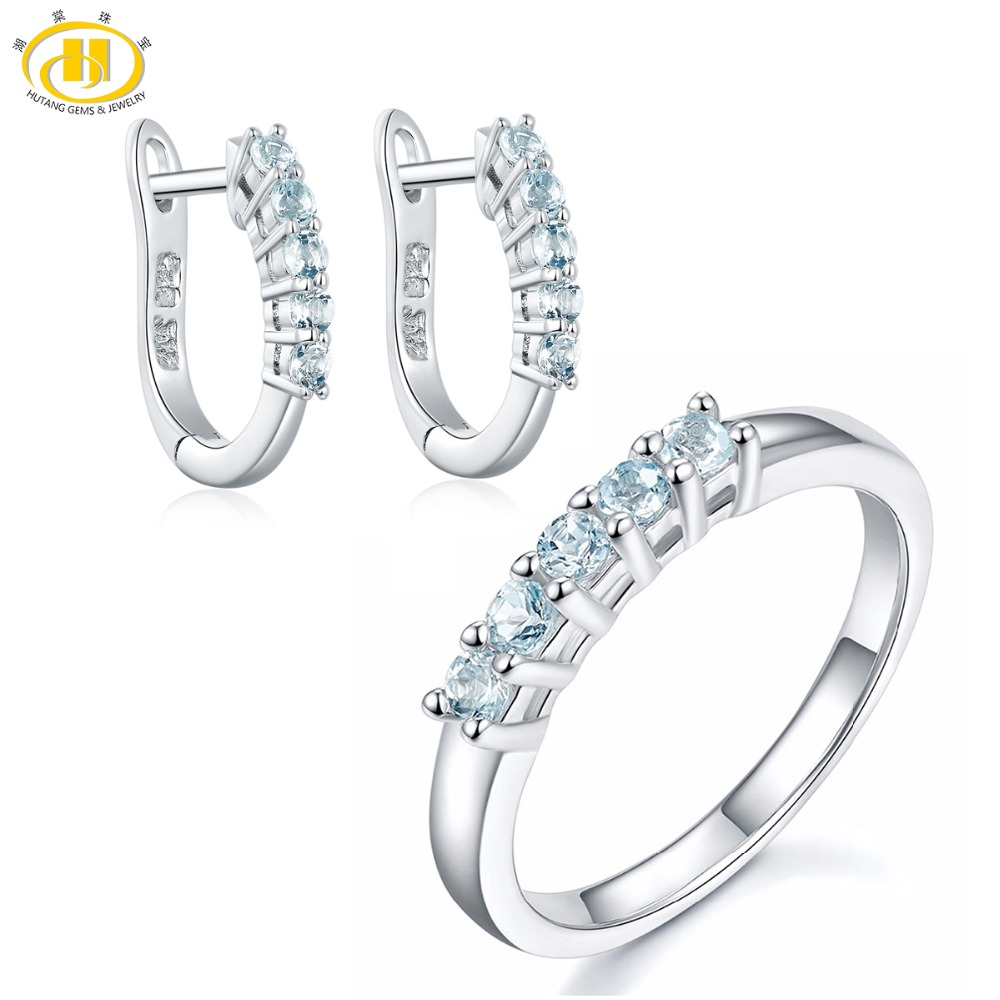 Hutang Bridal Jewelry Sets 0.54ct Natural Gemstone Aquamarine Ring Hoop Earrings Solid 925 Sterling Silver Fine Fashion Jewelry