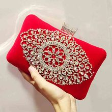 Noble Women Velvet Clutch Purse Rhinestone Evening Bags Bridal Black/Red Diamonds Wedding Party Dinner Bag Chain Shoulder Bag new pearls clutch bag white evening bags beaded women shoulder bags wedding party purse diamonds clutch bag