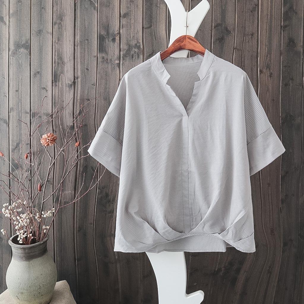 Women's Clothing High Quality Womens Striped Printing Short Sleeve Chiffon Blouse Blusa Mujer Aesthetic Tumblr Riverdale Kawaii Vadim Elegant