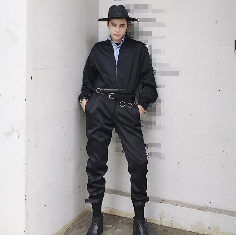 Original custom shirt collared jumpsuit Korean version of the fashion men's trousers performance work clothes.      S-6XL!!