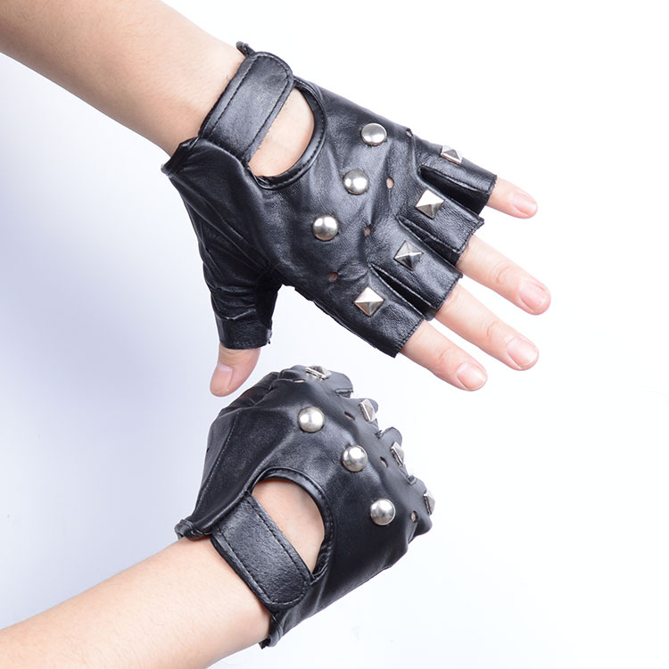 Personalized Fitness Gloves: Men Faux Leather Gloves Punk Rivets Fitness Half Fingered