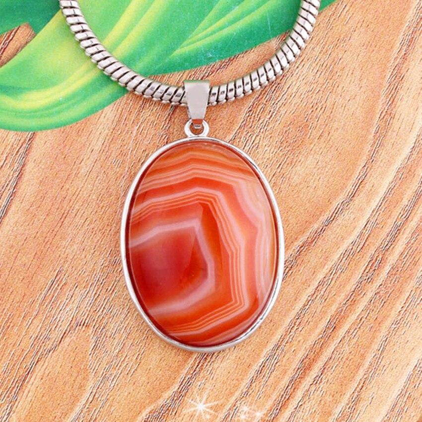 Крафт-бусины модный простой стиль посеребренные полосы красный агаты кулон овальной формы для вечерние ювелирные изделия в подарок