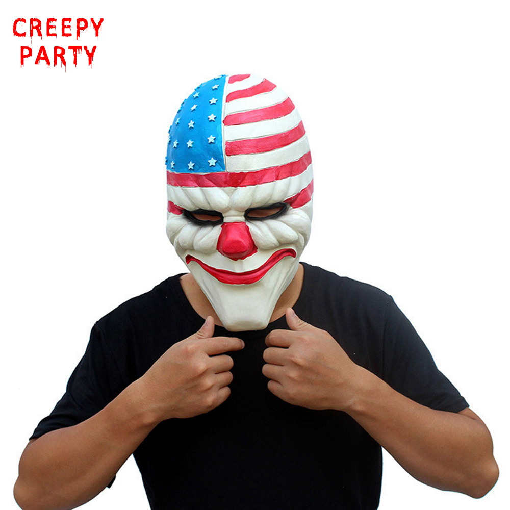 Skräck Payday 2 Mask Realistic Game Serie Latex Mask Vuxna Full Head Payday Clown Cosplay Kostym Party Mask För Halloween