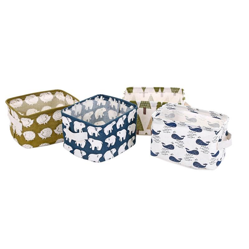 4pcs Storage Bins Foldable Linen Durable Storage Basket