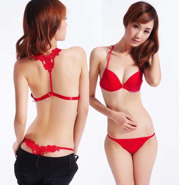 Free Shipping Women New Fashion Sexy Front Buckle Beauty Back Inspired Bra  Set Smooth Surface Push ae411ce40