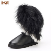 Real Genuine Leather Nature Fox Fur Tassel White Snow Boots For Women Fashion Flats Winter Shoes
