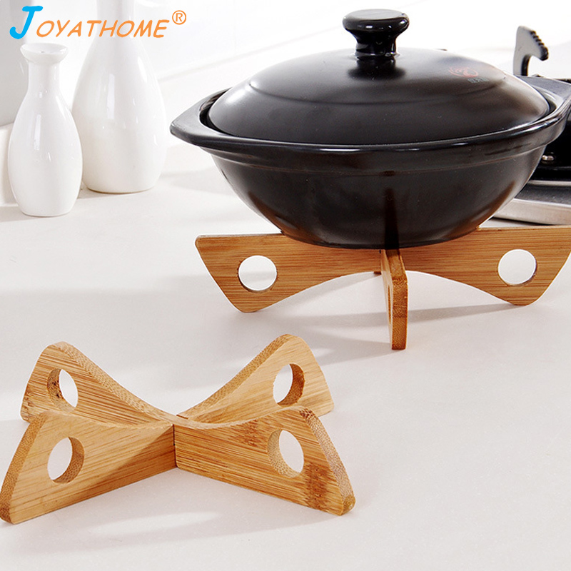 Image 2 - Joyathome Detachable Bamboo Heat Insulated Pad Kitchen Cooling Dish Bowl Pot Potholders Gadget Holder Anti Hot Table Pad-in Racks & Holders from Home & Garden
