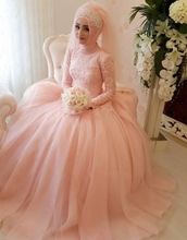 Wedding Dress Lace Appliques Gorgeous Arab Muslim Custom Made Pink Gowns High Neck Long Sleeve Hijab