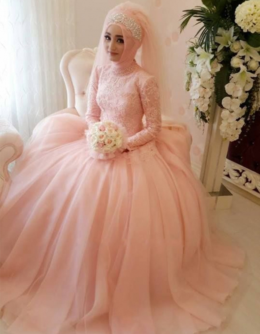 Wedding Dress Lace Appliques Gorgeous Arab Muslim Custom Made Pink Gowns High Neck Long Sleeve font