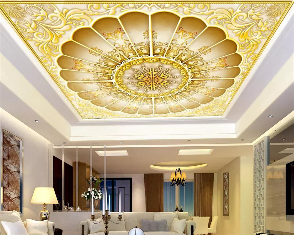 Beibehang Custom Photo Wall Mural 3d Wallpaper Luxury: Beibehang Custom Wallpaper 3d Photo Mural Gold Hall