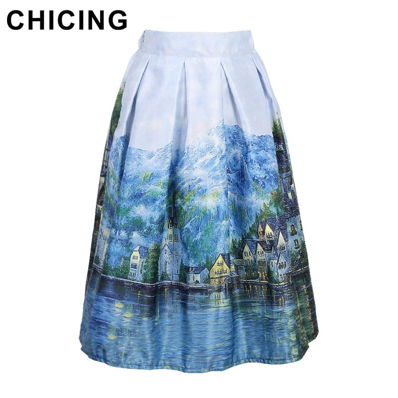 Aliexpress.com : Buy CHICING Vintage Landscape Print Skirts Women ...