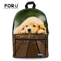 Forudesgisn 3d 래브라도 강아지 학교 가방 어린이를위한 십대 어깨 schoolbag mochilas infantil 도서 가방 캐주얼 캔버스 bolsas