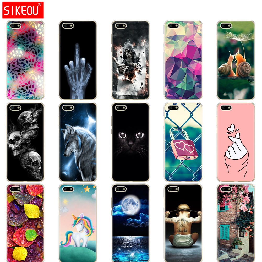 "Silicone case For Huawei Honor 7A Case 5.45"" inch Soft Tpu Phone Huawei Honor 7A 7 A DUA L22 Russian version Back Cover bag Cat"