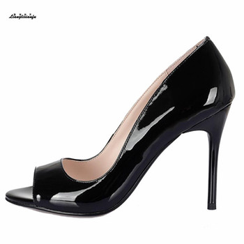 Crossdresser Plus:35-42 43 Peep Toe shoes woman 10cm High thin heels Sexy Wedding Stiletto zapato mujer Exegang Office Lady pump