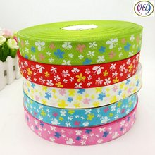 "HL 5yards Mix 1"" (25mm) Printed Butterfly Single Face Grosgrain Ribbon Wedding Party Decoration DIY Weaving Crafts A789(China)"