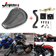 1 x Motorcycle Black PU Leather Solo Seat + Gold Brackets Spring for Harley Sportster XL1200 XL883 48 2004 04 DHL Shipping