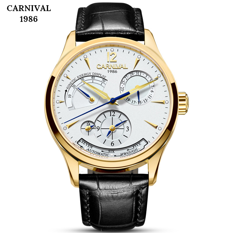 Relogio Masculino CARNIVAL Men Sports Dual time zone Watch Leather Strap Auto Date Automatic Mechanical Male Clock Hours Watches