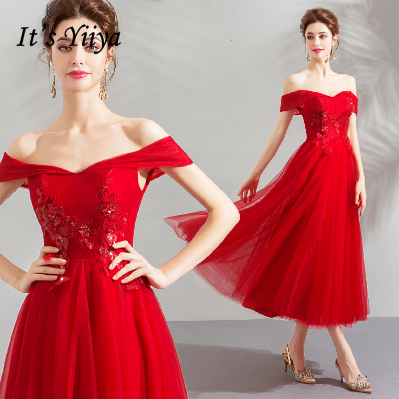 It's YiiYa   Prom   Gowns Red New 2019 Appliques Off the Shoulder Sleeves Tulle A-line Tea-length Custom Plus size   Prom     Dresses   E213