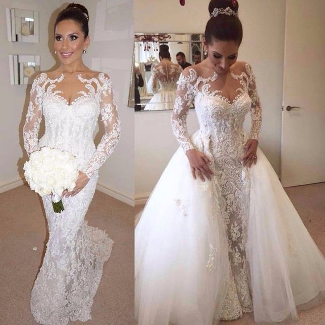 Romantic Wedding Dress Lace 2019  Mermaid Pearls Beads Long Sleeves with Detachable Train Trumpet Bridal Gown Robe De Mariee