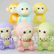 Free shipping NEW BULK ORDER Promotion Animal Eraser Handsome Monkey King Eraser Set 85 pieces per lot plus Free Gifts.