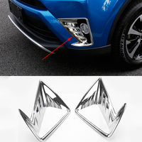 2016 Car Styling 2 Pcs/Set ABS Trim Protection Accessories Front Fog Lamp Daytime Running Light Cover For Toyota RAV4 2016
