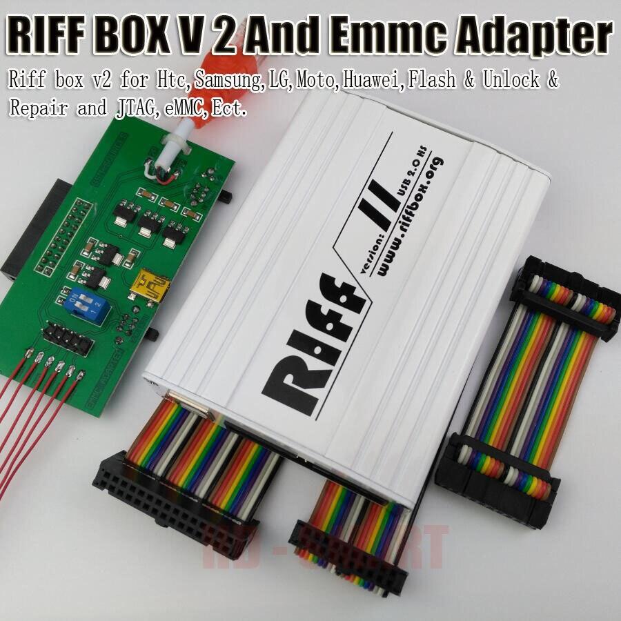 100% d'origine RIFF BOX JTAG Pour HTC, SAMSUNG, Huawei Riff Box Unlock & Flash et Réparation Avec 3 pcs plat câbles et RIFF BOÎTE MEM Adaptateur