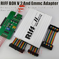 100% original caixa riff riff box jtag para htc, samsung, huawei unlock & flash & repair com 3 pcs plana adaptador de cabos e caixa riff emmc