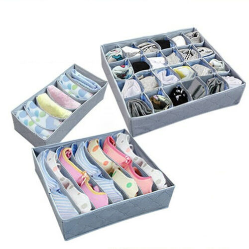 3pcs Foldable Bamboo Closet Organizer Box for Underwear Bra Socks Ties Scarves Storage Drawer Divider