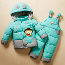 New Winter Children Clothing Duck Down Kit Jacket Sets For Girls Boy Parkas Set and Pants