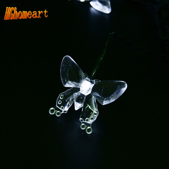 Christmas New Year wedding decoration LED solar butterfly lights string battery power 1.8m20LED fairy lights