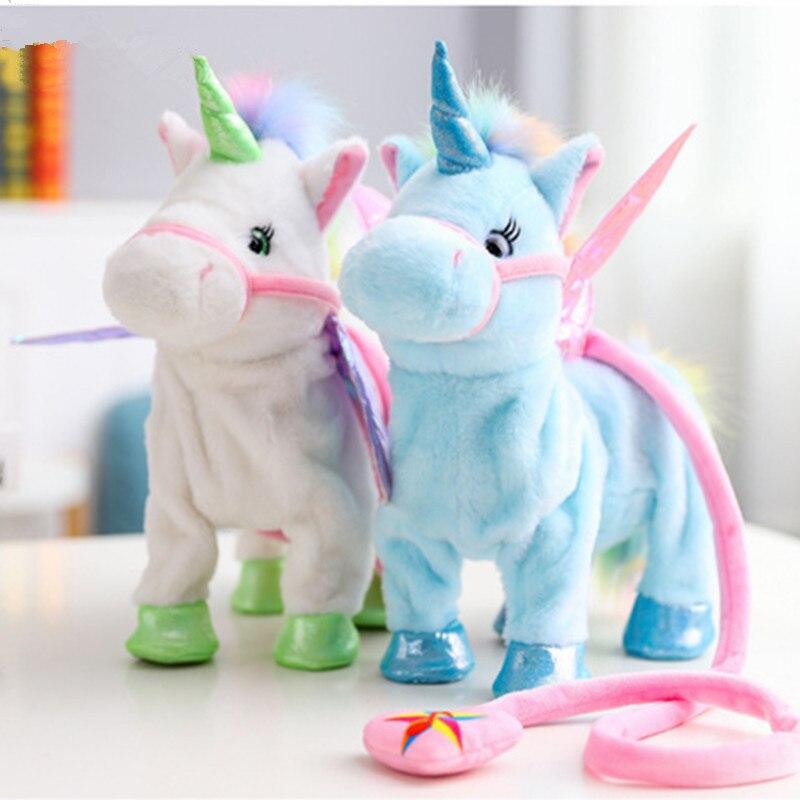 1 punid Unicornio eléctrico de peluche de felpa caballo de peluche de juguete Animal electrónico cantar música Unicornio juguete niños regalo de Navidad