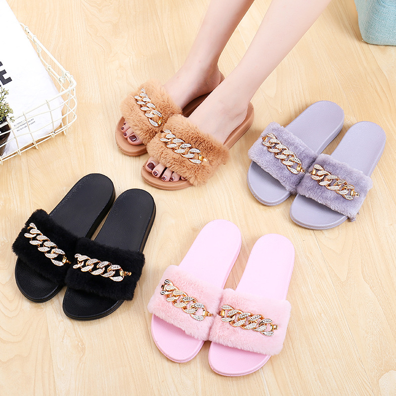 STONE VILLAGE 2019 New Women Slippers rhinestone Chain Fur Slippers Shoes solid Slip on flat Fur Fluffy Sliders shoes woman 4