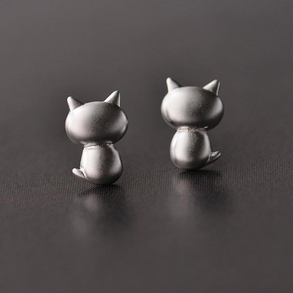 925 Sterling Silver Lovely Cat Earrings