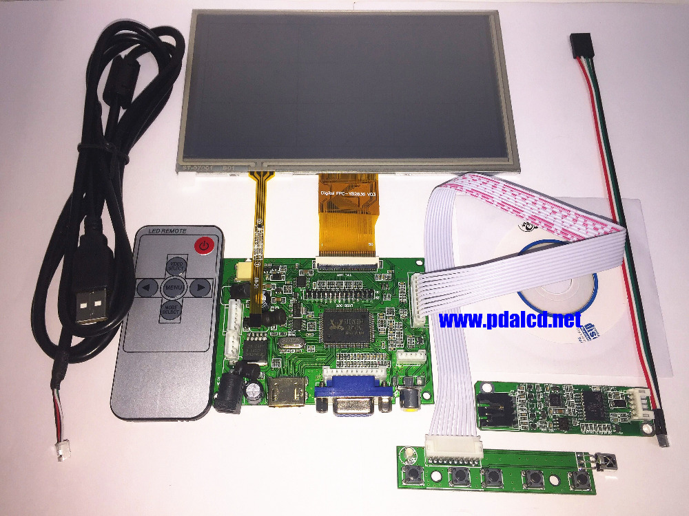 7 inch LCD Panel Digital LCD Screen + Touch screen and Drive Board(HDMI+VGA+2AV) for Raspberry PI Pcduino Cubieboard(1024*600) motorcycle stator engine cover left magneto cover for kawasaki zx 9r 1998 99 00 01 02 2003 year