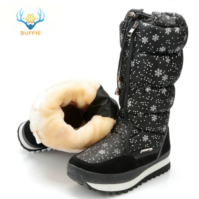 black high version winter women boots snowflake upper lace-up zipper high  leg boots female snow boots big size 40 41 warm boots 440c670898c1