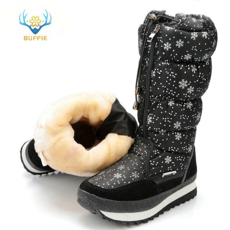 Negro versión alta invierno botas mujeres copo de nieve en la parte superior de encaje cremallera alta pierna botas mujer botas para la nieve de gran tamaño 40 41 botas