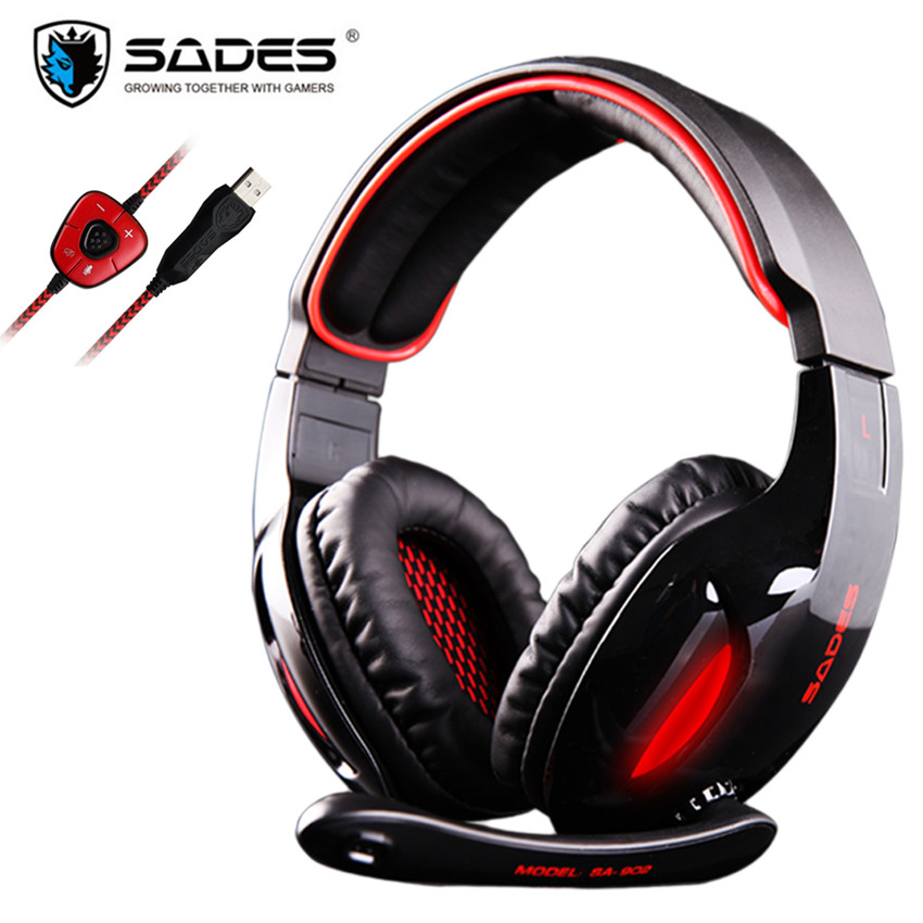 SADES SA-902 Gaming Headphones with Microphone Mic Led Light USB 7.1 Surround Sound PC Headset gaming Earphone for Compuer Gamer sades 3 in 1 pro gaming headset 7 1 surround sound stereo headphones earphones casque with mic professional gamer gaming gift
