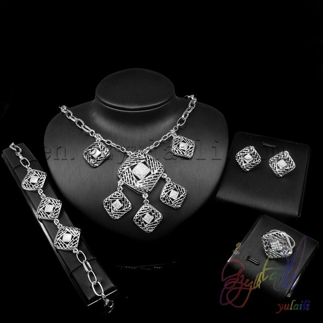 indian bridal jewelry sets white gold plated indian fashion jewelry