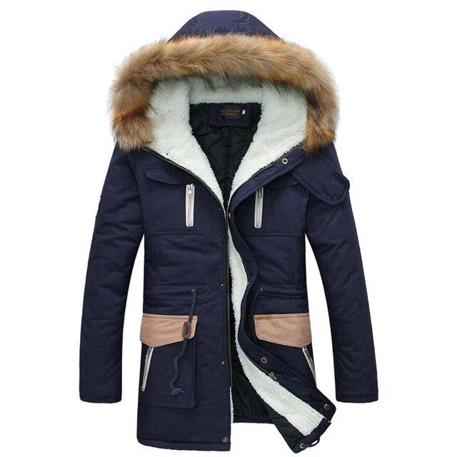 2015 новинка согреться длинное пальто мужские зимние куртки и пальто густой мех воротника зимнее пальто мужчины тенденция с капюшоном куртка